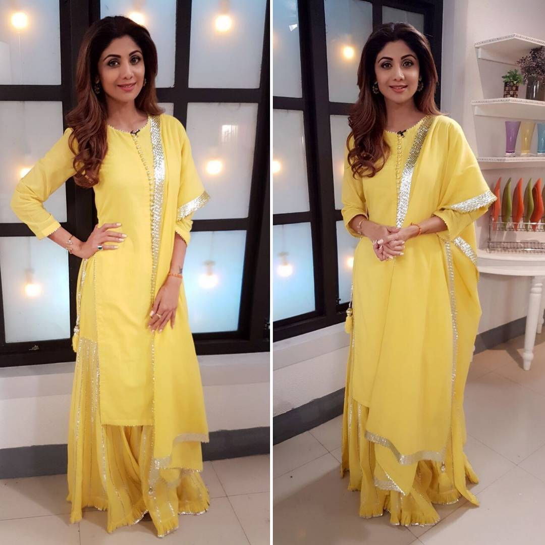 Image result for Shilpa Shetty Kundra Sukriti & Aakriti yellow color suit