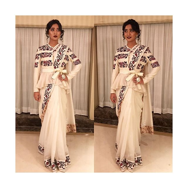 82985932190 For an event Sayani Gupta eye catching appearance in a Rahul Mishra white  saree with floral border