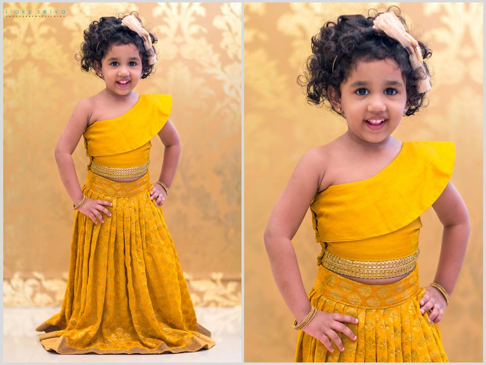 b043defba Check out this pretty,gorgeous baby doll beautiful in a lehenga skirts  ,teamed with matching crop top,from Label Anju Shankar from ZARI.