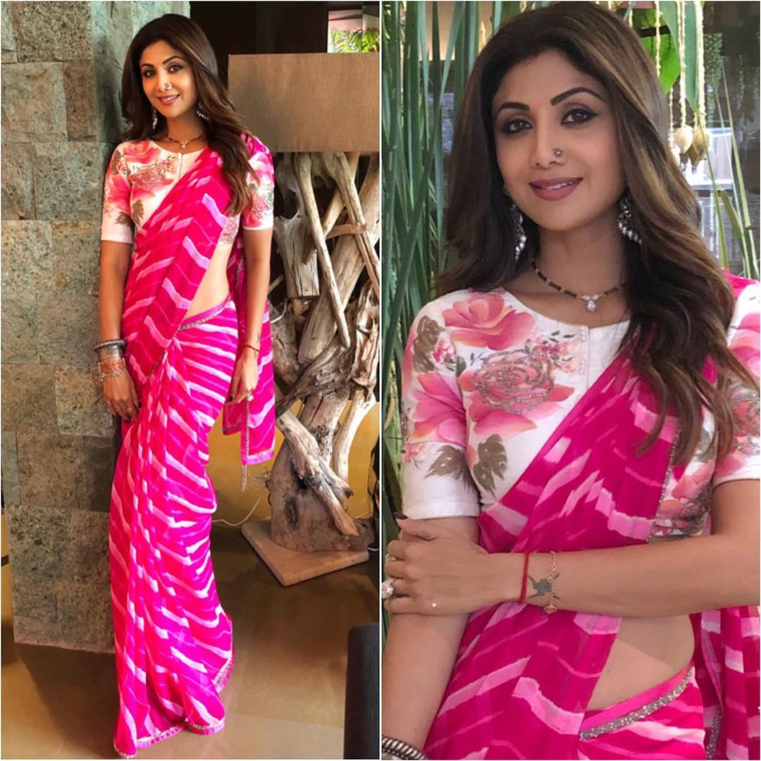 c0a37e06cc Shilpa Shetty beautiful look in pink lehriya saree featured with floral  blouse from Devnaagri Couture.