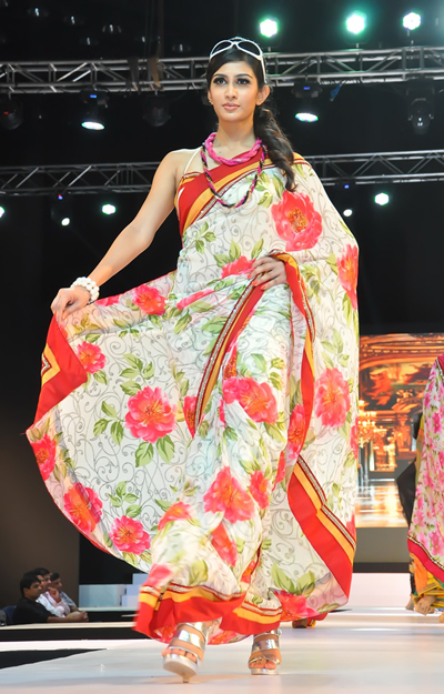 Floral Print Work Saree
