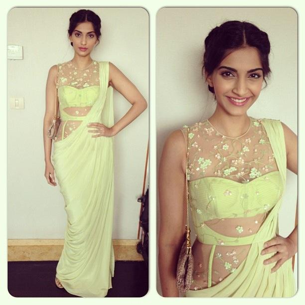 sonam kapoor in georgette saree