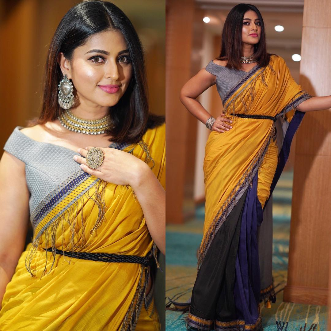 142d80609b For Filmfare Awards South 2018,Sneha Prasanna beautiful appearance in a  half and half saree from Archana & Puneeth ,paired with a contrast blouse,Aquamarine  ...