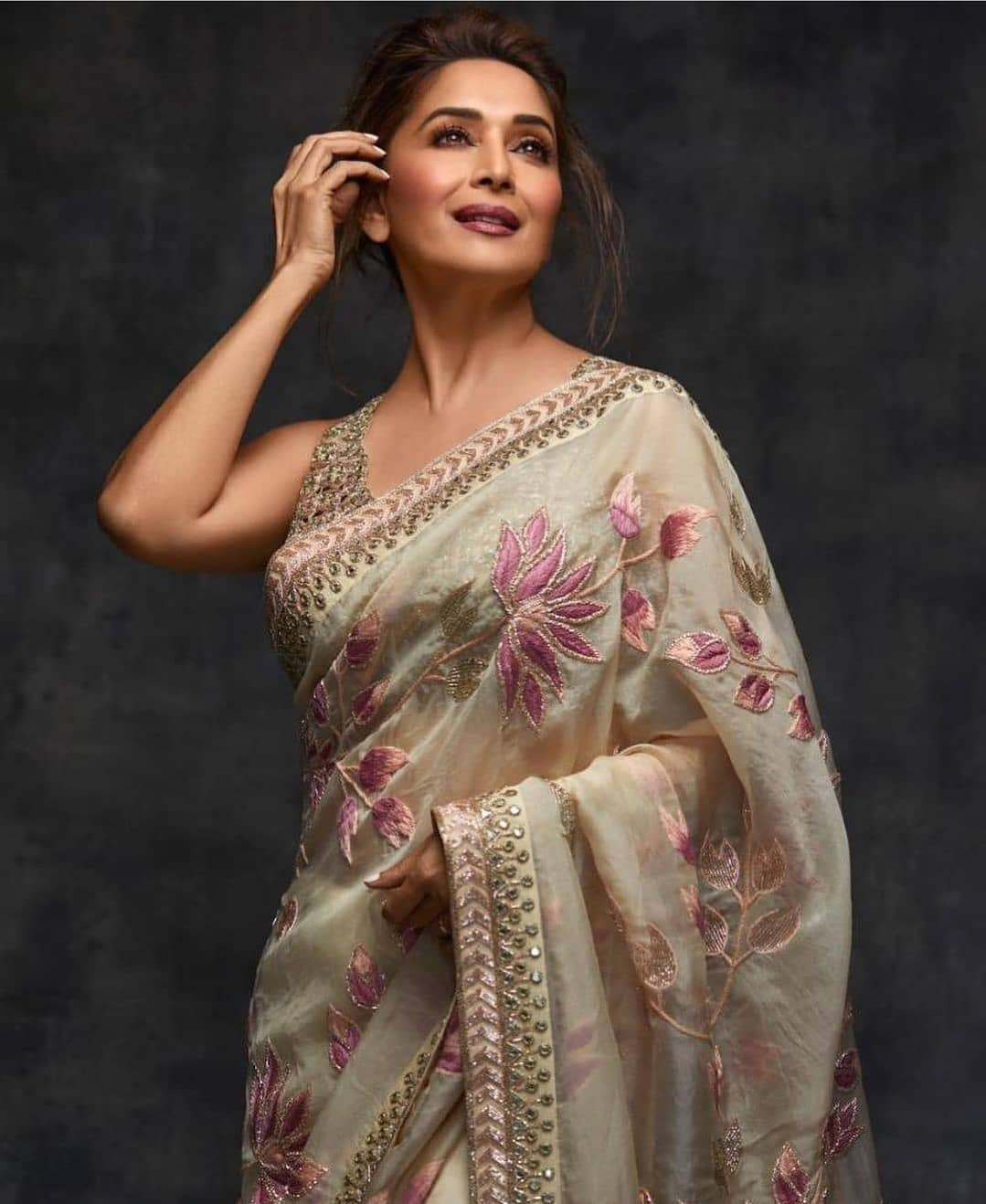 Image result for madhuri dixit in floral saree